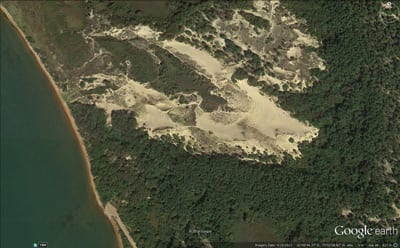Google Earth The Walking Dunes, Napeauge Harbor