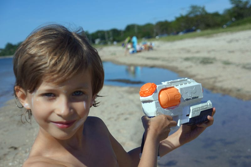 toy water gun on Foster Beach