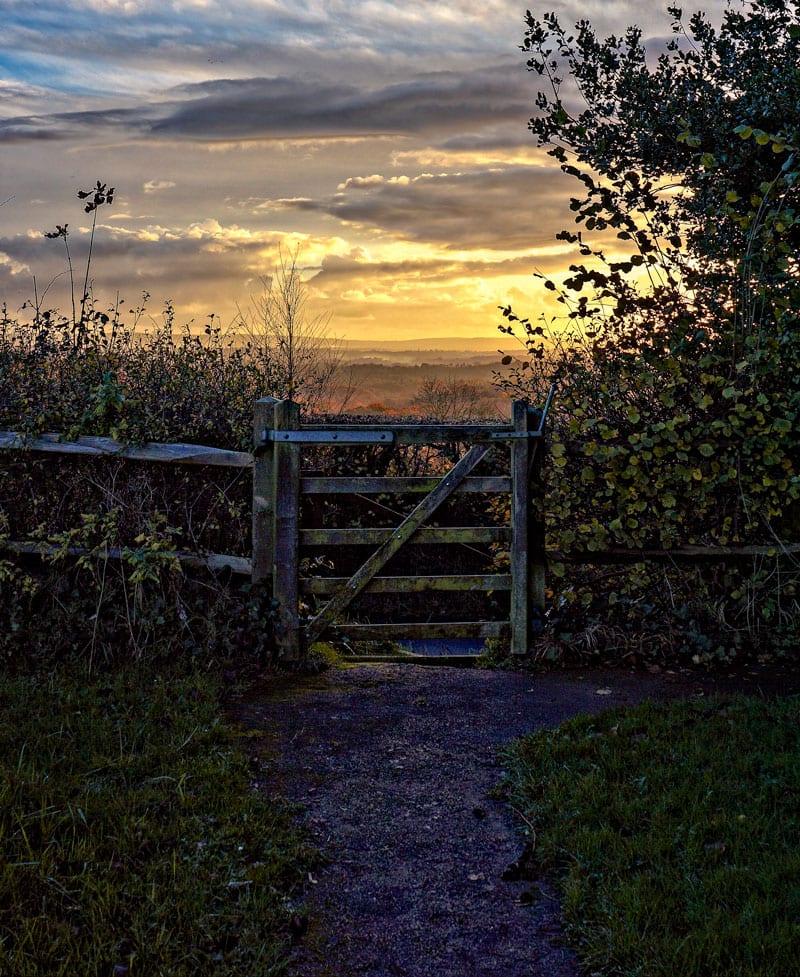 sunset hills behind gate