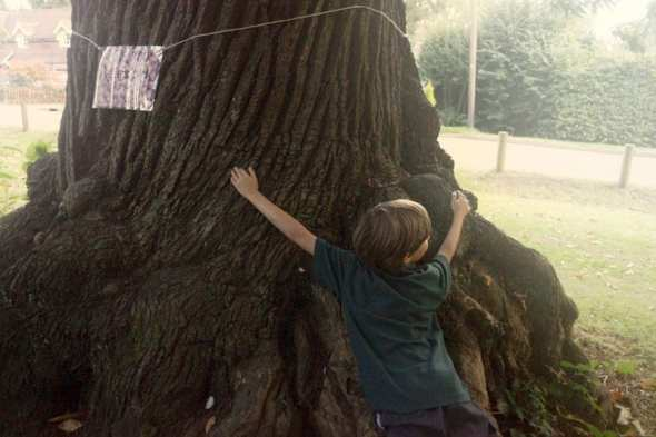 Theo hugging an Evelyn Sweet Chestnut