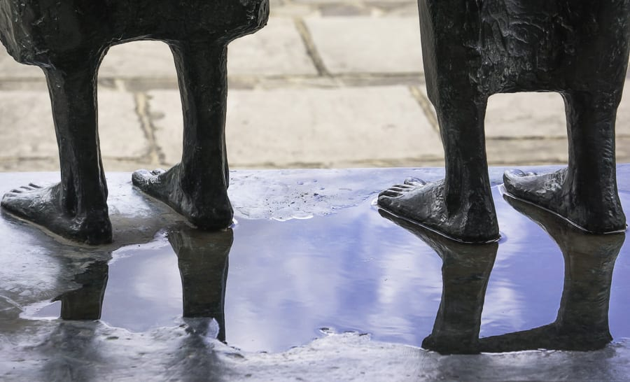 RHS Wisley statue feet and reflection