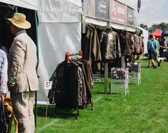 Country clothing stands at english village fair