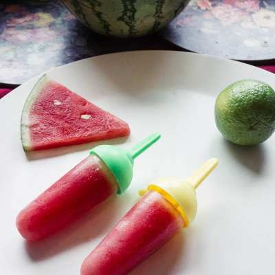 Watermelon with lime ice lollies