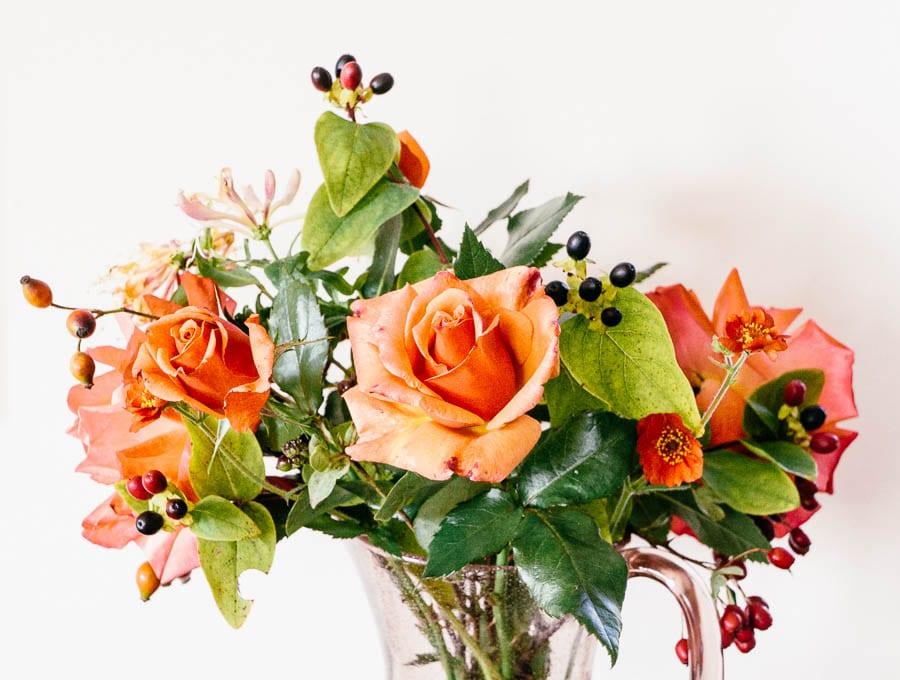 September Vase of flowers berries