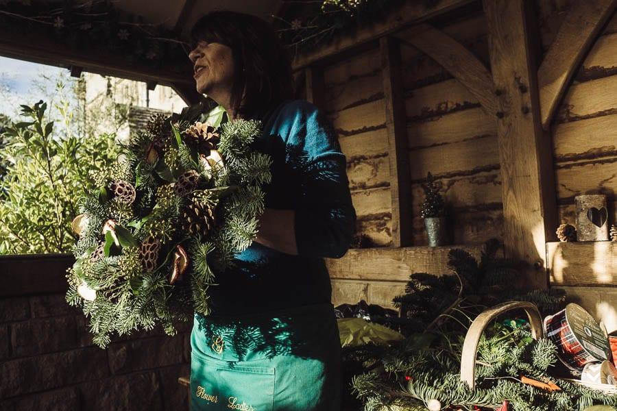Christmas wreath head florist Sue Flight
