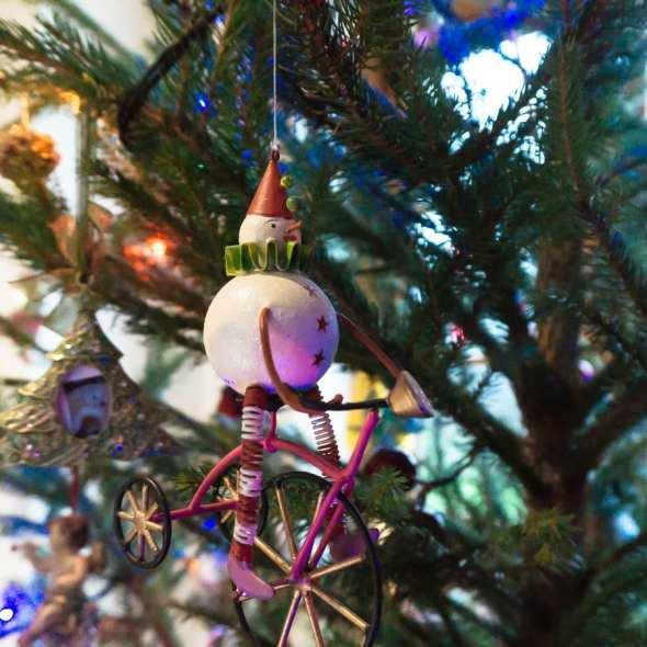 Clown on bike Christmas ornament