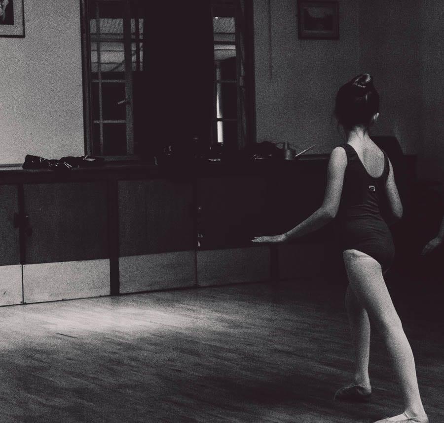 Little Dancer BW in dance studio