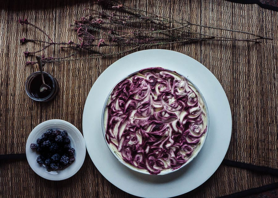 White Chocolate Cheesecake with blackberry coulis