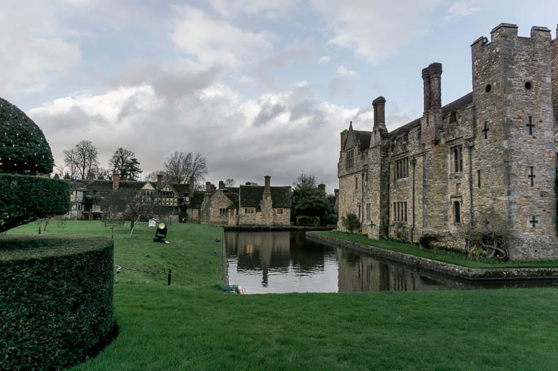 Hever Castle moat and tudor village