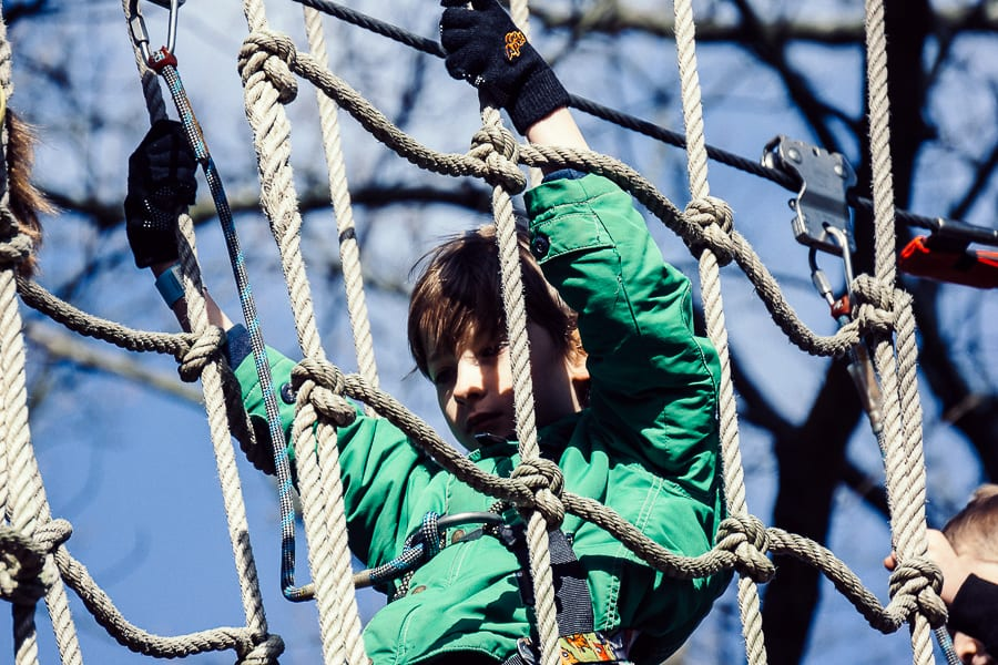 Treetop adventure in net crossing
