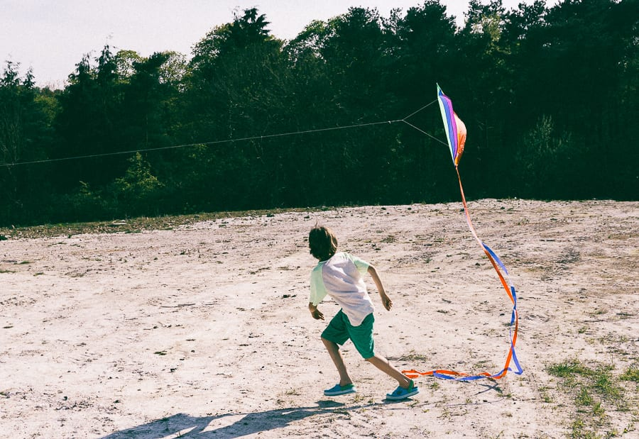 Kite flying catching wind
