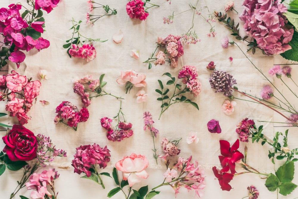 Linen roses flowers