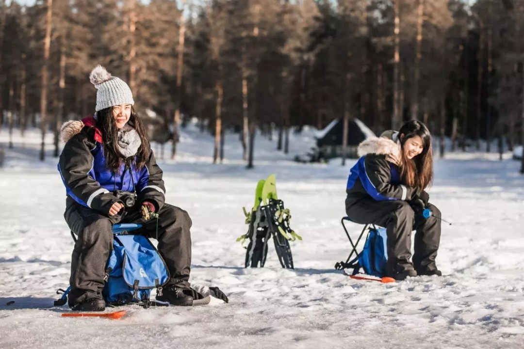 Snowshoeing and ice-fishing