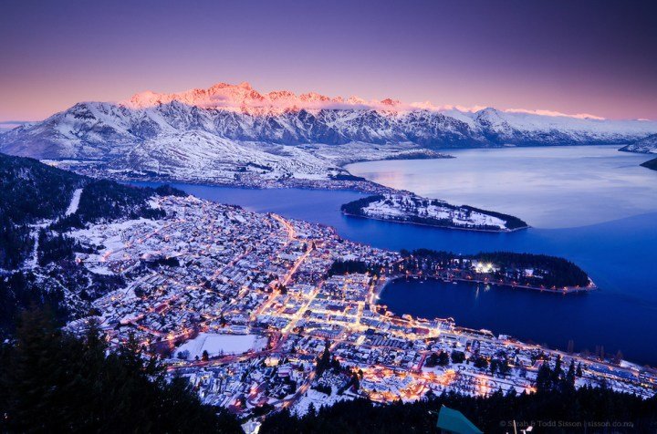 Queenstown, New Zealand : Queenstown is built around the beautiful Lake Wakatipu, which has spectacular views of surrounding mountains including Walter Peak and The Remarkables.