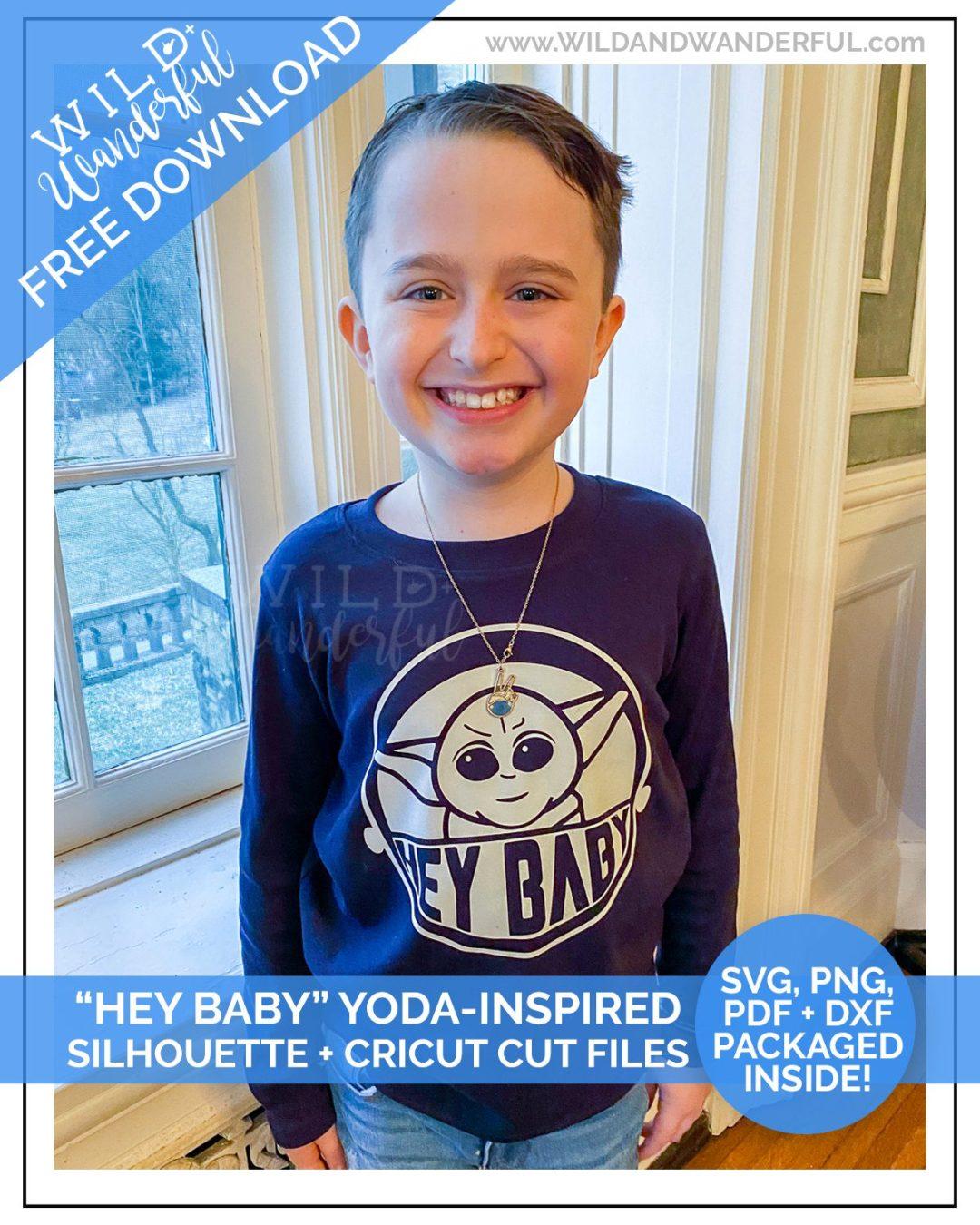 """Hey Baby"" Yoda-Inspired Design :: FREE Silhouette + Cricut Cut Files!"