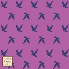 Navy Bird Silhouettes on Orchid Purple Cotton Jersey Blend Knit Fabric