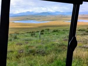View from minibus window