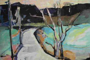 Blackridge, Scotland, gouache and pastel painting by artist Manna Dobo