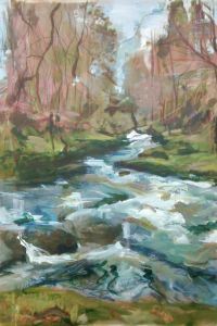 Rumbling Bridge, Scotland, plein air landscape painting by Wild at Art tutor Karen Strang