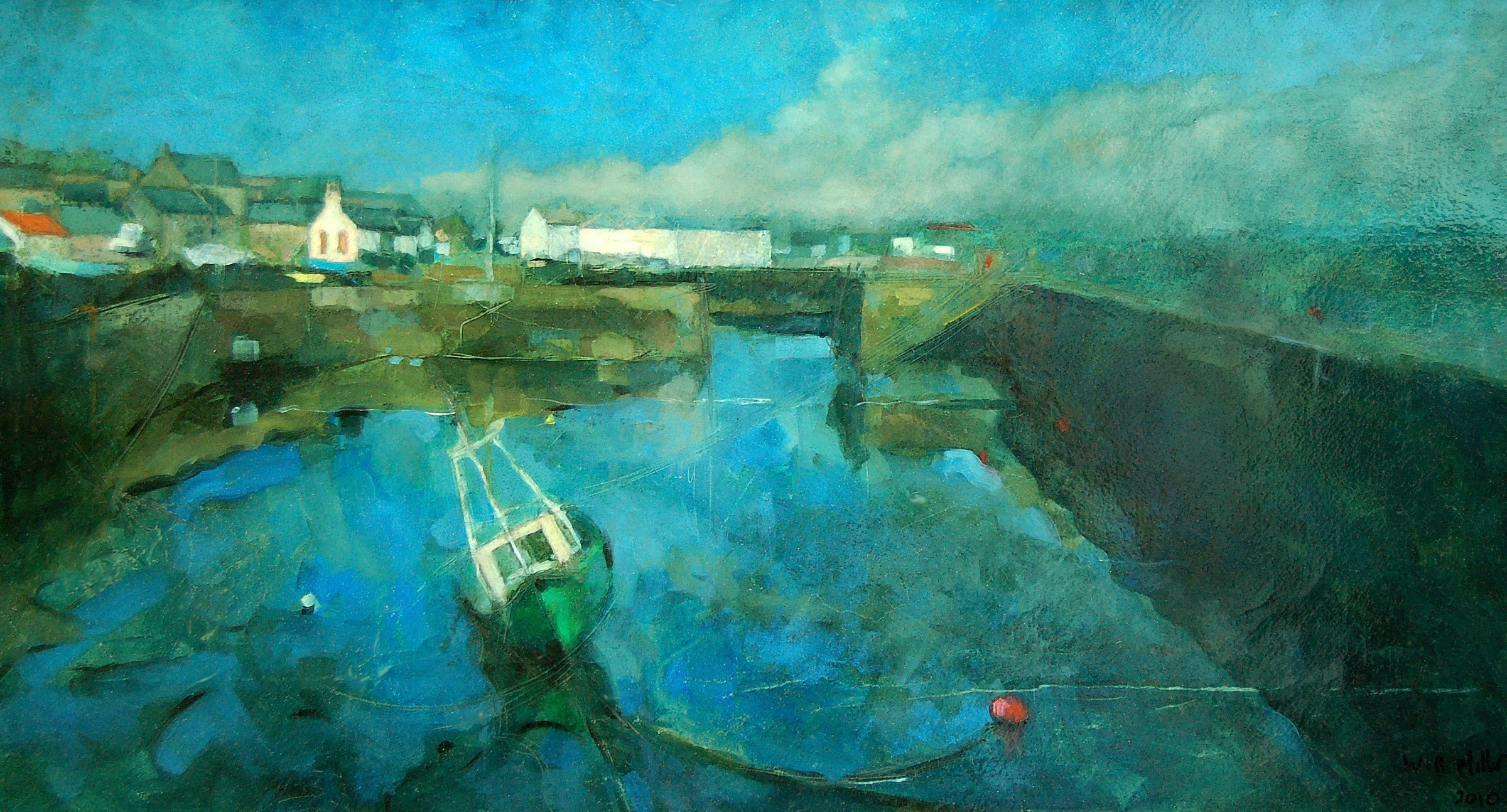 Johnshaven Harbour oil painting by Scottish artist William Brian Miller