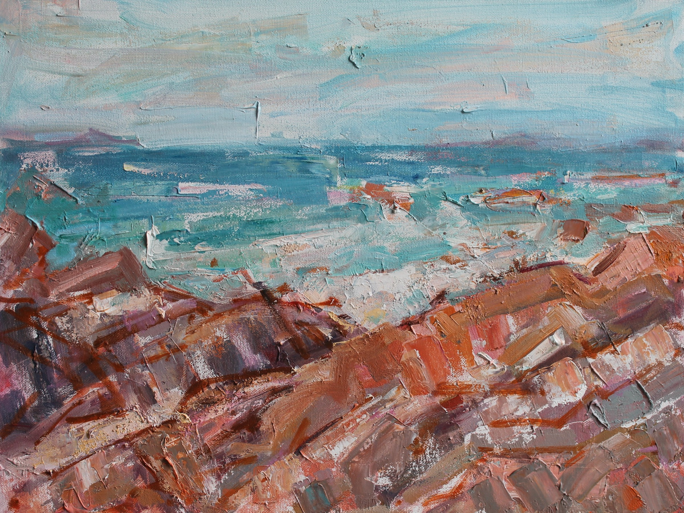 Iona Rocks. Painting by Jackie Philip