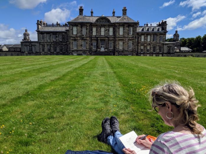 Henrietta sketching at Hopetoun4