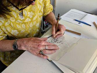 Nicky at printmaking workshop