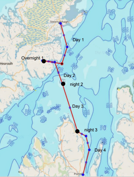 Map of our route from Stornoway in Lewis to Mallaig in Skye
