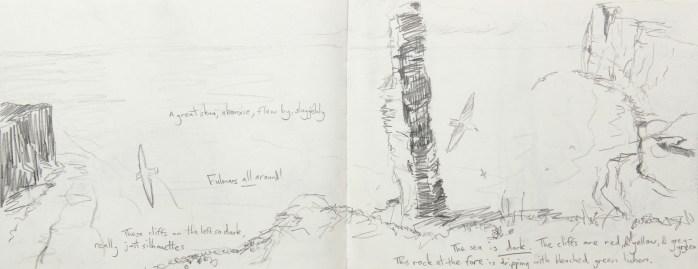 the old man of Hoy, sketchbook, 19x49cm
