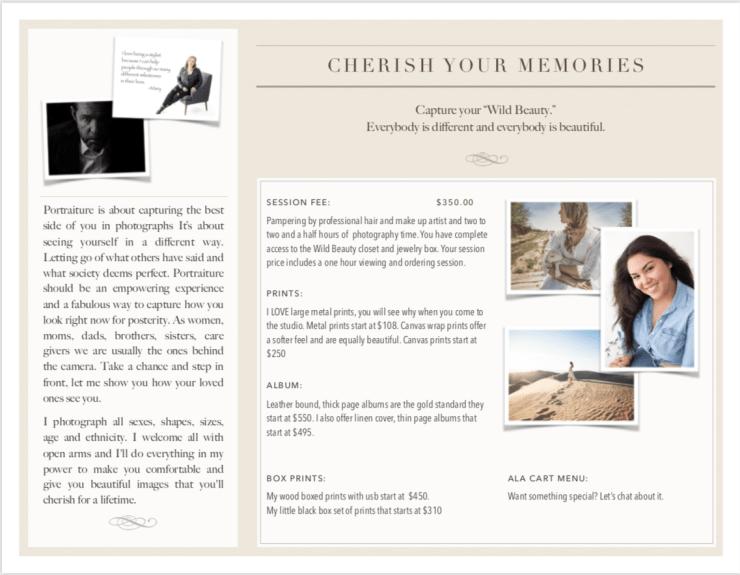Informational brochure for Wild Beauty Photo Portrait Studio, Back side