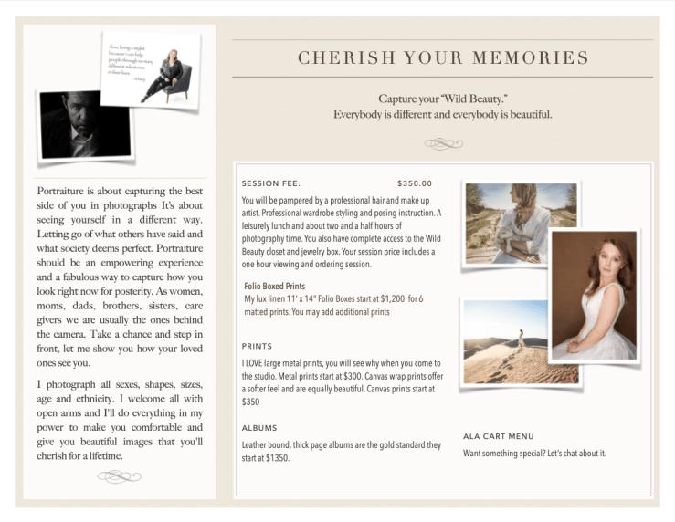 Wild Beauty photo business brochure