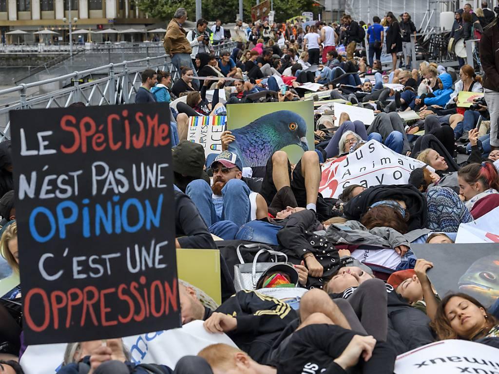 Demonstration für Tierrechte in Genf