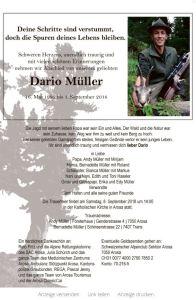 Todesanzeige Dario Müller