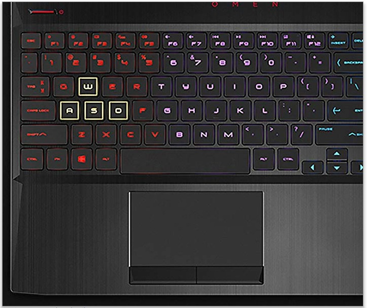 Keyboard and touch pad layout of the HP Omen 15 gaming laptop