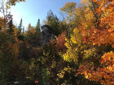 """Forest Therapy - Forest Bathing - shinrin-yoku - Incredible fall colour surrounds the """"flowerpot"""" escarpment rock formation"""