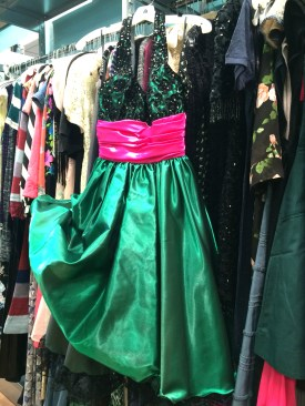 Green and Pink Satin with Sequin top, $27 size 8