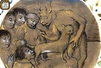 Depiction of people pledging alligiance to the devil by kissing a cat's behind.