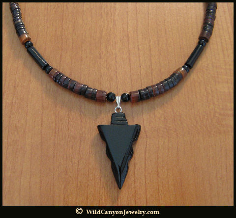 Black obsidian arrowhead pendant necklace wildcanyonjewelry black obsidian arrowhead pendant necklace aloadofball Image collections