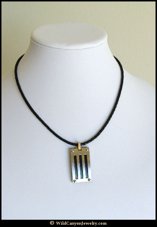 Steel three black stripes rectangle pendant necklace steel three black stripes rectangle pendant necklace mozeypictures Gallery