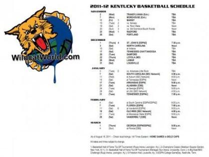 2011-2012 Kentucky Basketball Schedule Wallpaper