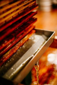 when pressure is added the natural sugars and essential flavors begin to pour from the rack and cloth