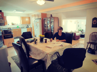 Dining room with kitchen in background!