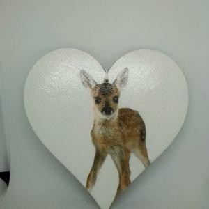 Fawn wooden heart