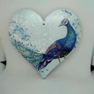 pastel peacock mdf heart