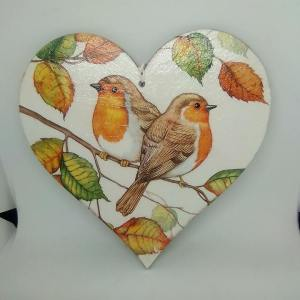 robin wooden heart