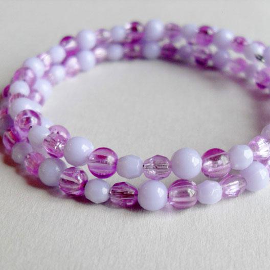 Lilac Purple Pastel Wrap Bead Bracelet by Wilde Designs