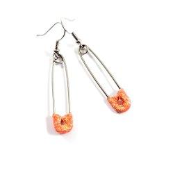 Orange Glittery Safety Pin Earrings by Wilde Designs
