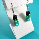 Black Green and Teal Gamer Gear Earrings by Wilde Designs