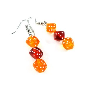 Gamer Girl Dice Earrings in Autumn Vibes