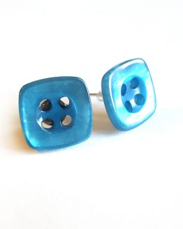 Blue Button Earrings by Wilde Designs